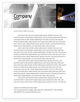 Keyhole With Light Beam Letterhead Template, 05113, Consulting — PoweredTemplate.com