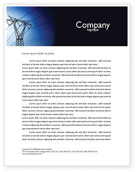 Power Lines Mast Letterhead Template, 05131, Careers/Industry — PoweredTemplate.com
