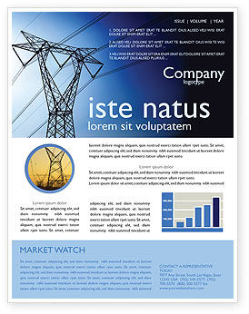 Power Lines Mast Newsletter Template, 05131, Careers/Industry — PoweredTemplate.com