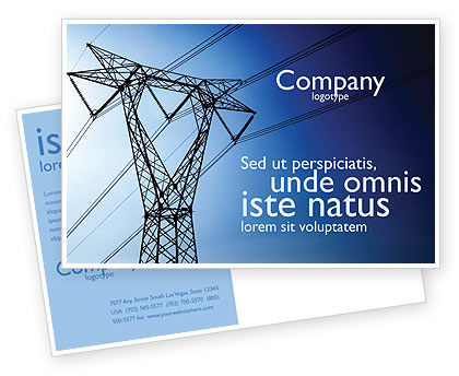 Power Lines Mast Postcard Template, 05131, Careers/Industry — PoweredTemplate.com