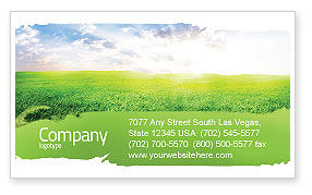 Agriculture and Animals: Aurora Over The Green Field Business Card Template #05135
