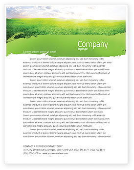 Aurora Over The Green Field Letterhead Template, 05135, Agriculture and Animals — PoweredTemplate.com