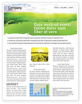 Agriculture and Animals: Aurora Over The Green Field Newsletter Template #05135
