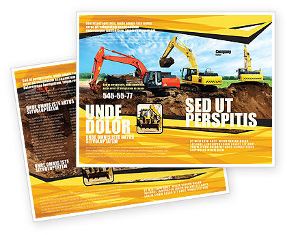 Excavator Brochure Template, 05136, Utilities/Industrial — PoweredTemplate.com