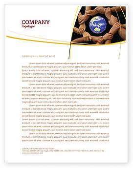 Global: Holding Hands Letterhead Template #05147
