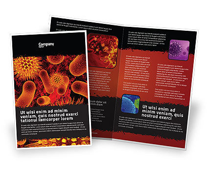 Microbiology Material Brochure Template, 05164, Medical — PoweredTemplate.com