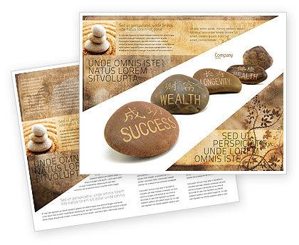 Feng Shui Stones Brochure Template, 05166, Religious/Spiritual — PoweredTemplate.com