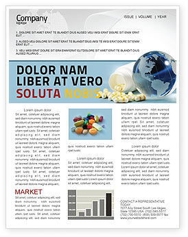 Medical: Bottle Of Tablets With Globe Newsletter Template #05180