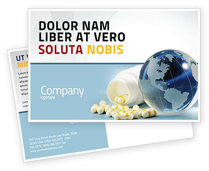 Bottle Of Tablets With Globe Postcard Template, 05180, Medical — PoweredTemplate.com