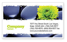 Careers/Industry: Yellow Flower In A Dark Blue Stones Business Card Template #05187