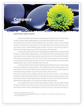 Careers/Industry: Yellow Flower In A Dark Blue Stones Letterhead Template #05187