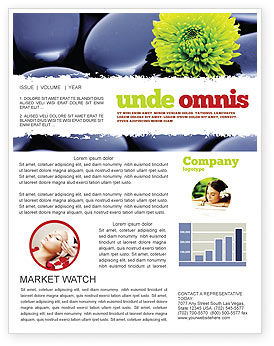 Careers/Industry: Yellow Flower In A Dark Blue Stones Newsletter Template #05187