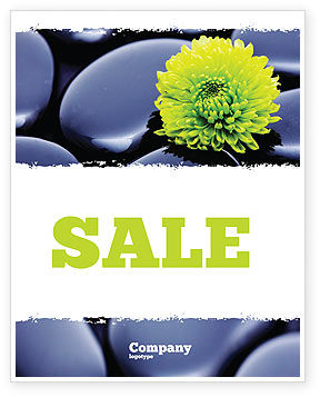 Yellow Flower In A Dark Blue Stones Sale Poster Template, 05187, Careers/Industry — PoweredTemplate.com