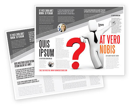 Red Question Mark Under Hand Of Man Brochure Template, 05202, Consulting — PoweredTemplate.com