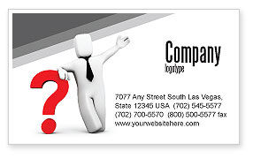 Consulting: Red Question Mark Under Hand Of Man Business Card Template #05202