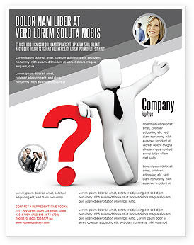 Consulting: Red Question Mark Under Hand Of Man Flyer Template #05202