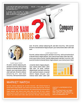 Consulting: Red Question Mark Under Hand Of Man Newsletter Template #05202