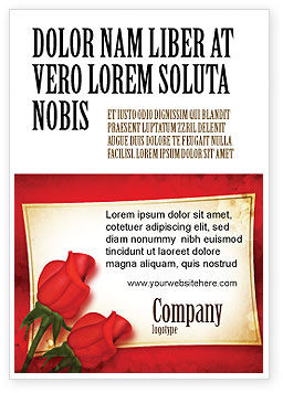 Holiday/Special Occasion: Rode Rozen Kaart Advertentie Template #05207