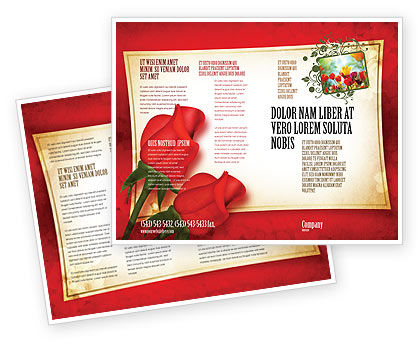 Red Roses Card Brochure Template, 05207, Holiday/Special Occasion — PoweredTemplate.com