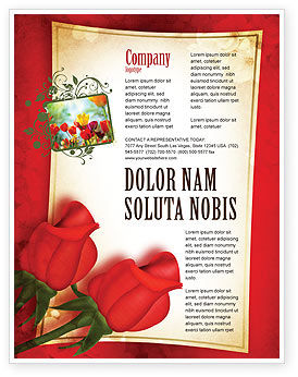 Holiday/Special Occasion: Red Roses Card Flyer Template #05207