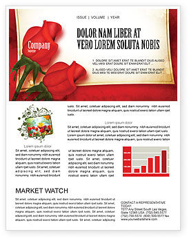 Red Roses Card Newsletter Template, 05207, Holiday/Special Occasion — PoweredTemplate.com