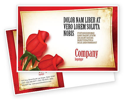 Holiday/Special Occasion: Red Roses Card Postcard Template #05207