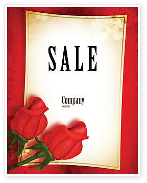 Red Roses Card Sale Poster Template, 05207, Holiday/Special Occasion — PoweredTemplate.com