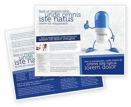 Blue Pill Brochure Template, 05210, Medical — PoweredTemplate.com