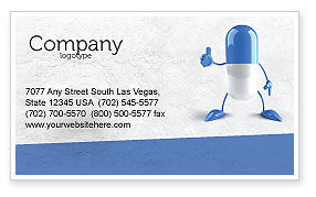 Blue Pill Business Card Template, 05210, Medical — PoweredTemplate.com