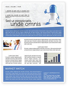 Blue Pill Newsletter Template, 05210, Medical — PoweredTemplate.com