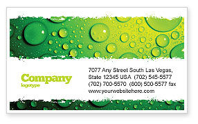 Green Water Drops Business Card Template