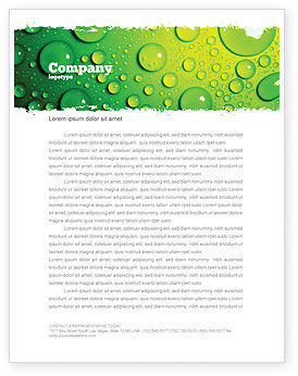 Green Water Drops Letterhead Template, 05216, Abstract/Textures — PoweredTemplate.com