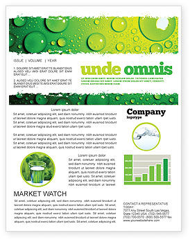 Green Water Drops Newsletter Template, 05216, Abstract/Textures — PoweredTemplate.com