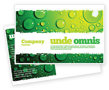 Green Water Drops Postcard Template, 05216, Abstract/Textures — PoweredTemplate.com