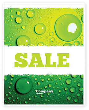Abstract/Textures: Green Water Drops Sale Poster Template #05216