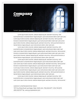 Window In the Church Letterhead Template, 05230, Religious/Spiritual — PoweredTemplate.com