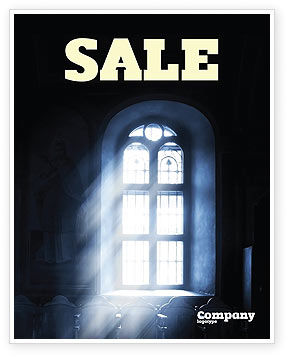 Window In the Church Sale Poster Template, 05230, Religious/Spiritual — PoweredTemplate.com