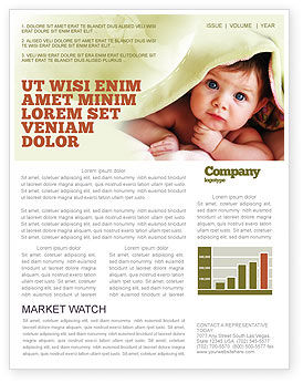 Baby Under Blanket Newsletter Template, 05234, People — PoweredTemplate.com
