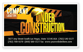 Closed Under Construction Business Card Template