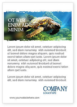 Agriculture and Animals: Zeeschildpad Advertentie Template #05237