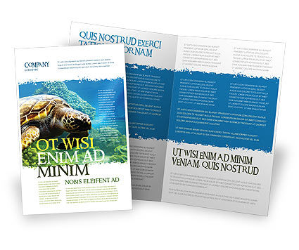 Sea Turtle Brochure Template, 05237, Agriculture and Animals — PoweredTemplate.com