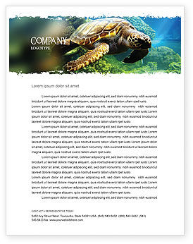 Agriculture and Animals: Sea Turtle Letterhead Template #05237