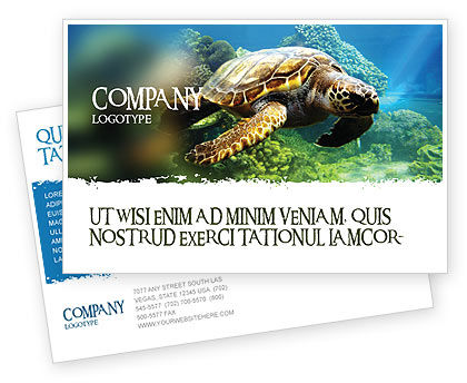 Agriculture and Animals: Sea Turtle Postcard Template #05237