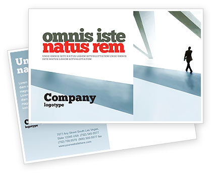 Business: Walking Man Postcard Template #05240