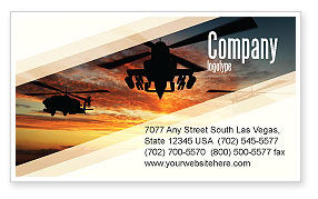 Military: Attack Helicopter Business Card Template #05247
