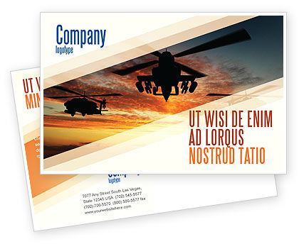 Attack Helicopter Postcard Template, 05247, Military — PoweredTemplate.com