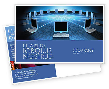 Networking Connection Star Type Postcard Template, 05256, Technology, Science & Computers — PoweredTemplate.com