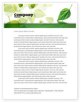 Nature & Environment: Green Leaf Falling Letterhead Template #05260
