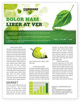 Green Leaf Falling Newsletter Template, 05260, Nature & Environment — PoweredTemplate.com