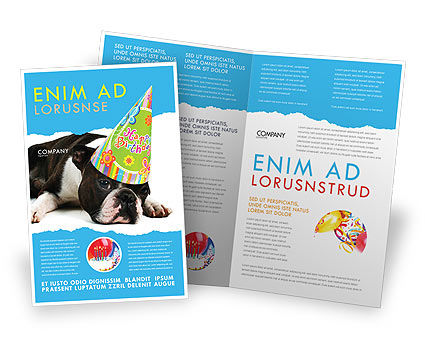 Holiday/Special Occasion: Happy Birthday Puppy Brochure Template #05265
